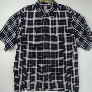 BoomX Plaid Navy White Men's  2XL Button Up Travel